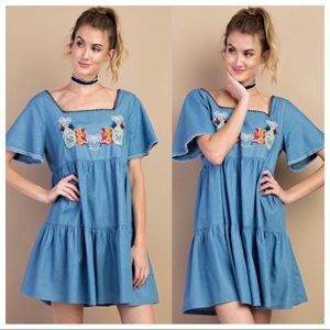 NWOT Easel Babydoll Boho Embroidered Denim Dress S
